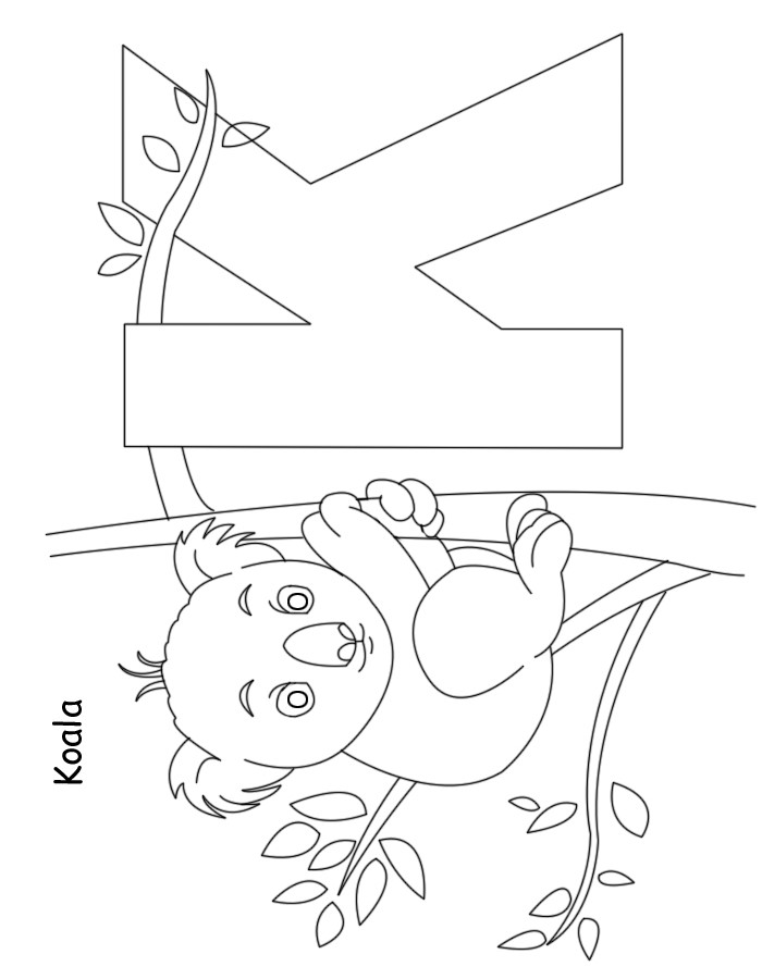 Nursery Alphabet Colouring : K for Koala