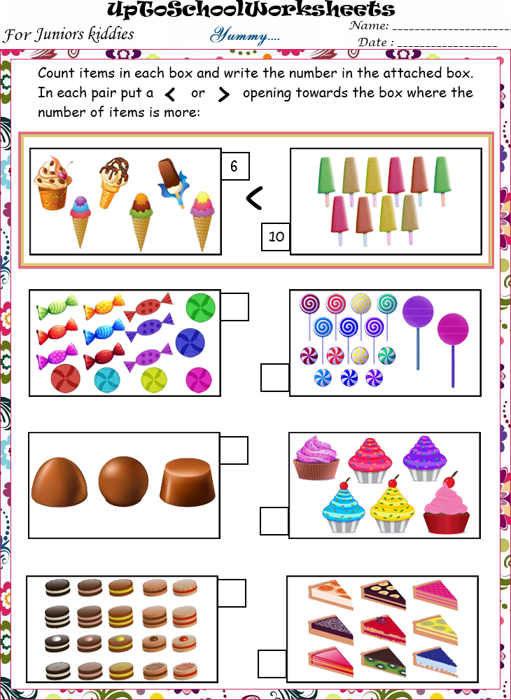 Math Work Card For Nursery And K G. Lesupercoin Printables ...